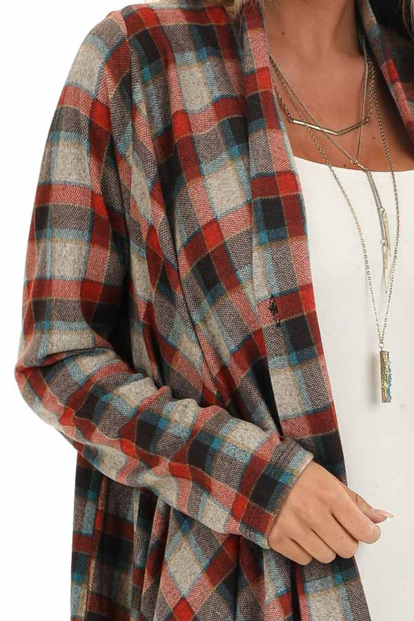 Ruby Red Plaid Draped Cardigan with Button Closure at Collar detail
