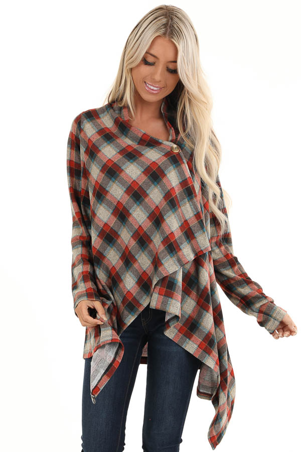 Ruby Red Plaid Draped Cardigan with Button Closure at Collar front close up