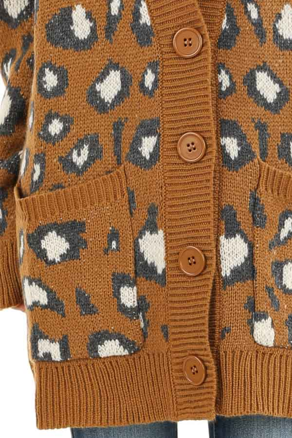 Copper Animal Print Knit Button Up Cardigan with Pockets detail