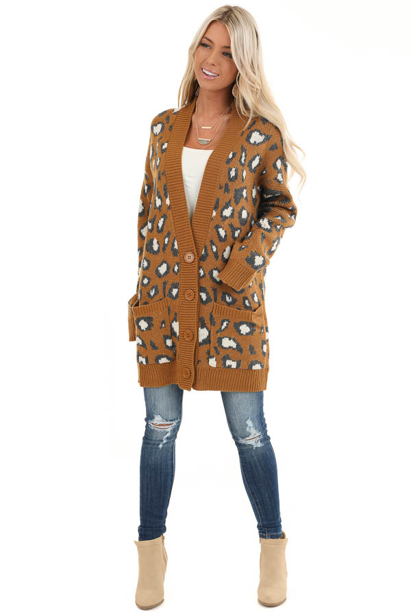 Copper Animal Print Knit Button Up Cardigan with Pockets front full body