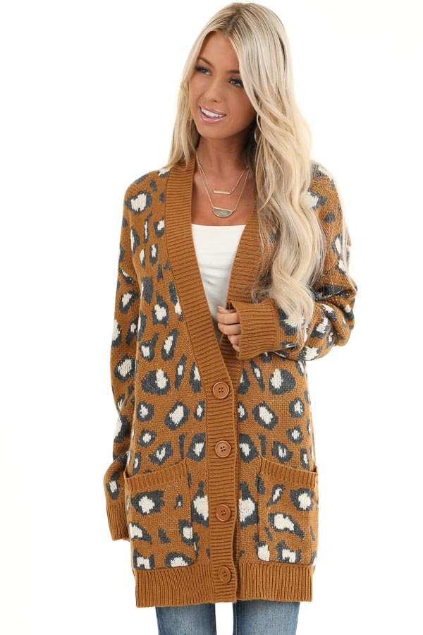 Copper Animal Print Knit Button Up Cardigan with Pockets front close up