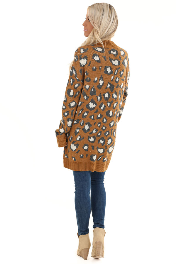 Copper Animal Print Knit Button Up Cardigan with Pockets back full body