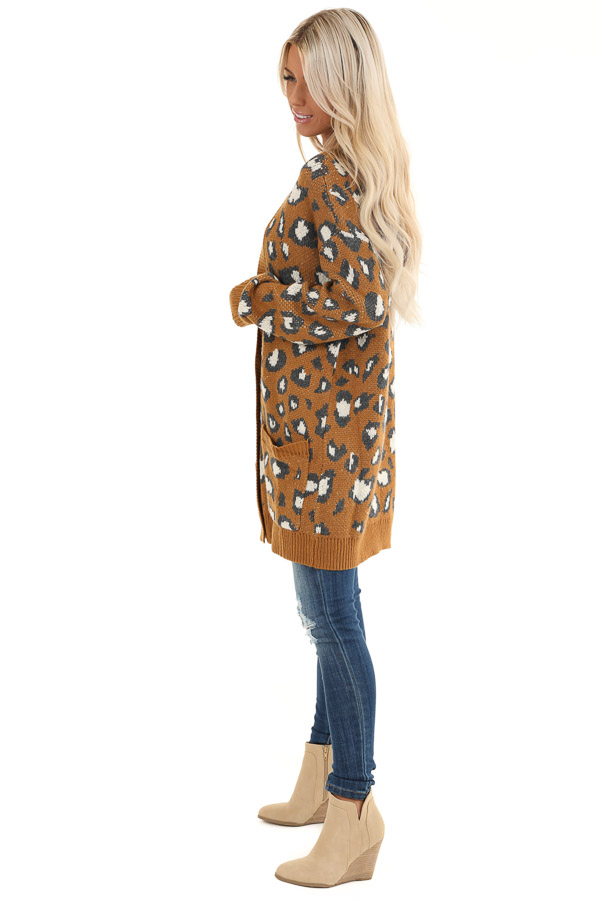 Copper Animal Print Knit Button Up Cardigan with Pockets side full body