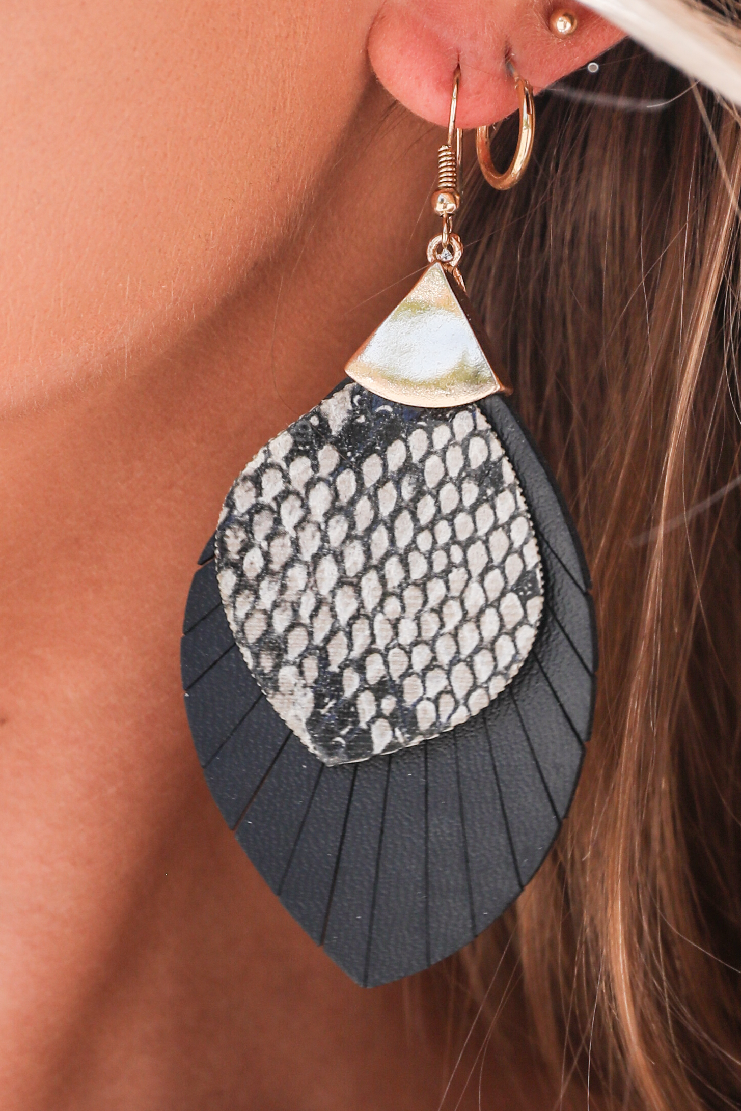 Black Faux Leather Tassel Earrings with Snake Print Detail