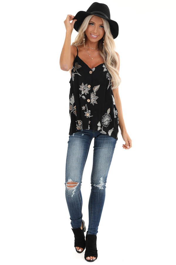 Ebony Button Down Tank with Floral Embroidery Details front full body