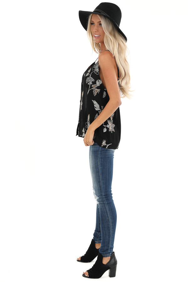 Ebony Button Down Tank with Floral Embroidery Details side full body