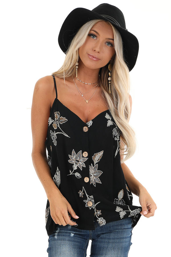 Ebony Button Down Tank with Floral Embroidery Details front close up