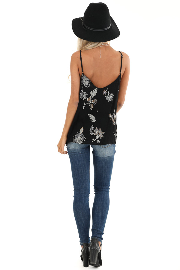 Ebony Button Down Tank with Floral Embroidery Details back full body