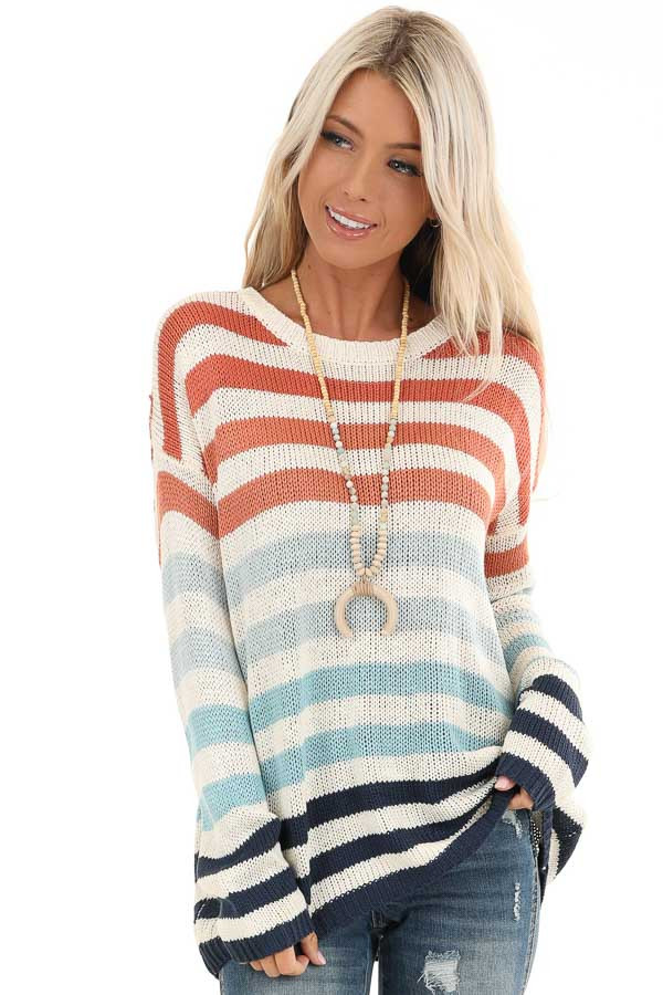 Ivory Multicolor Striped Loose Fit Knit Top front close up