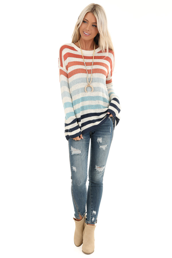 Ivory Multicolor Striped Loose Fit Knit Top front full body