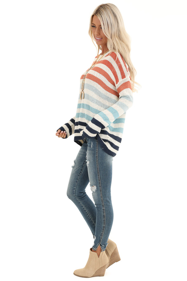 Ivory Multicolor Striped Loose Fit Knit Top side full body