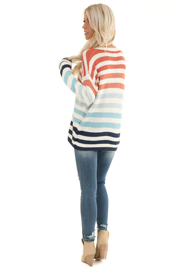 Ivory Multicolor Striped Loose Fit Knit Top back full body
