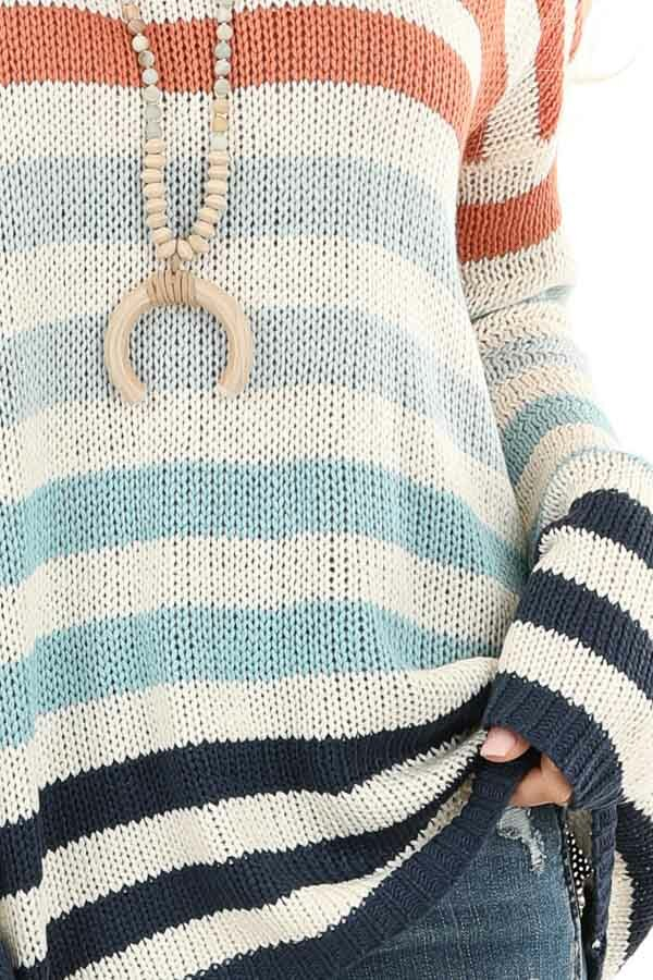 Ivory Multicolor Striped Loose Fit Knit Top detail