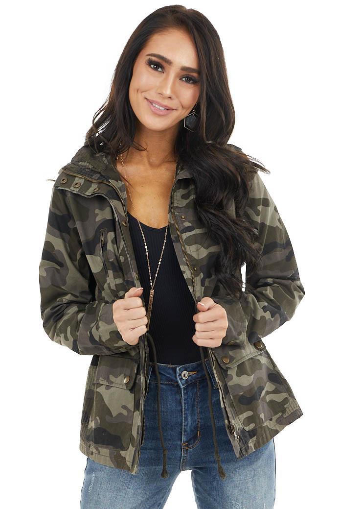 Moss Camo Print Jacket with Pockets and Bronze Details