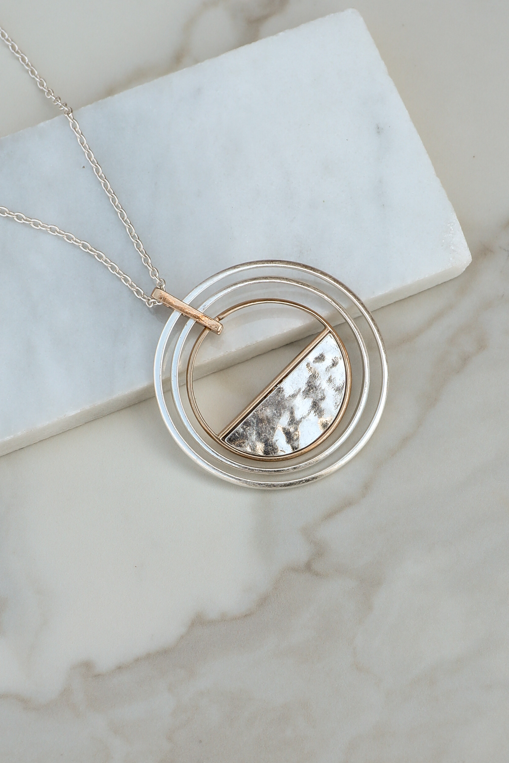 Silver and Gold Long Necklace with Layered Hoop Pendant