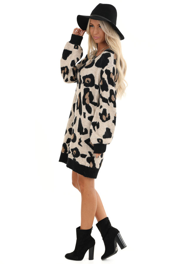 Sand and Black Leopard Print Short Knit Sweater Dress side full body