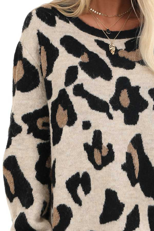 Sand and Black Leopard Print Short Knit Sweater Dress detail