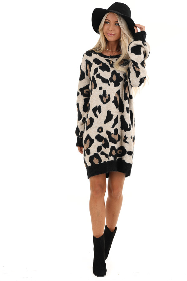 Sand and Black Leopard Print Short Knit Sweater Dress front full body