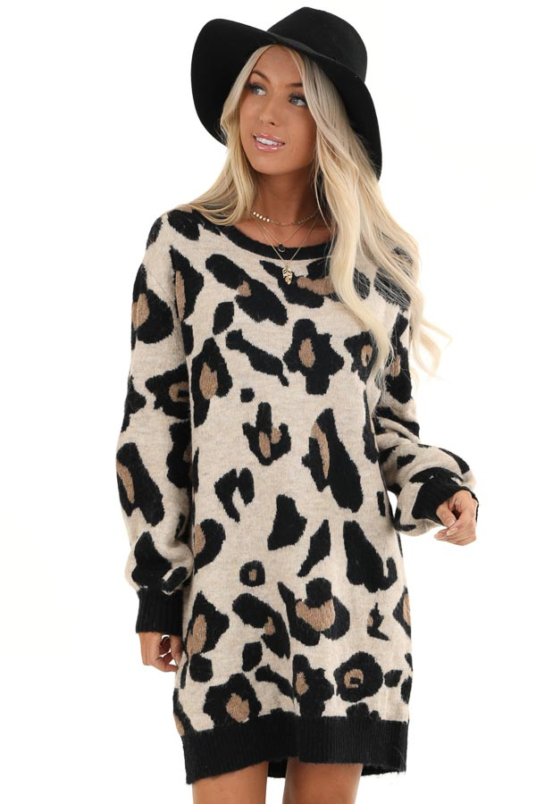 Sand and Black Leopard Print Short Knit Sweater Dress front close up