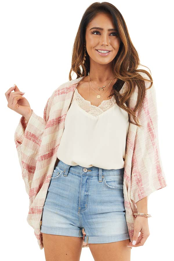 Blush and Cream Oversize Cardigan with Dolman Sleeves front close up