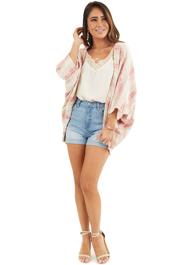Blush and Cream Oversize Cardigan with Dolman Sleeves front full body