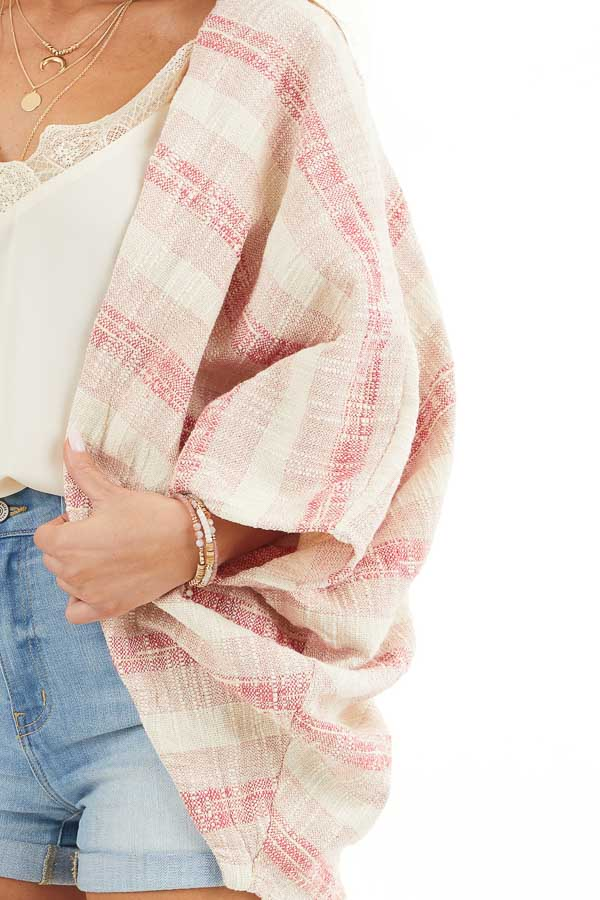 Blush and Cream Oversize Cardigan with Dolman Sleeves detail