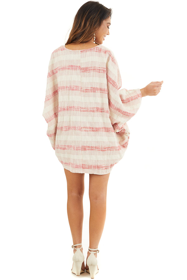 Blush and Cream Oversize Cardigan with Dolman Sleeves back full body