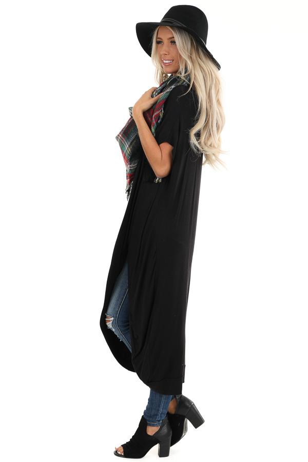 Black Short Sleeve High Low Top with Twist Detail side full body