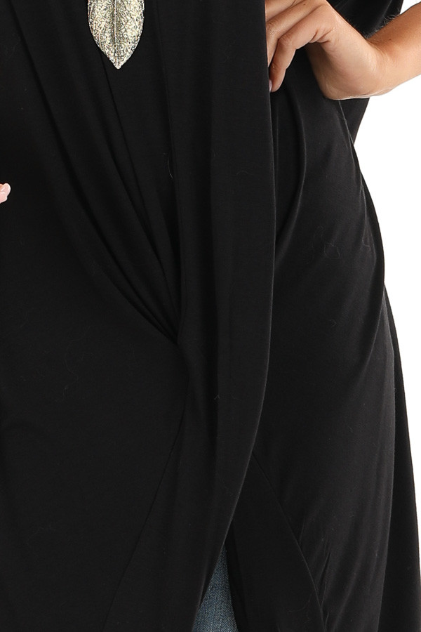 Black Short Sleeve High Low Top with Twist Detail detail
