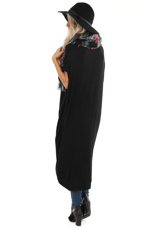 Black Short Sleeve High Low Top with Twist Detail back full body