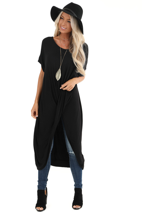 Black Short Sleeve High Low Top with Twist Detail front full body