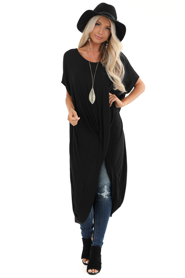 Black Short Sleeve High Low Top with Twist Detail front close up