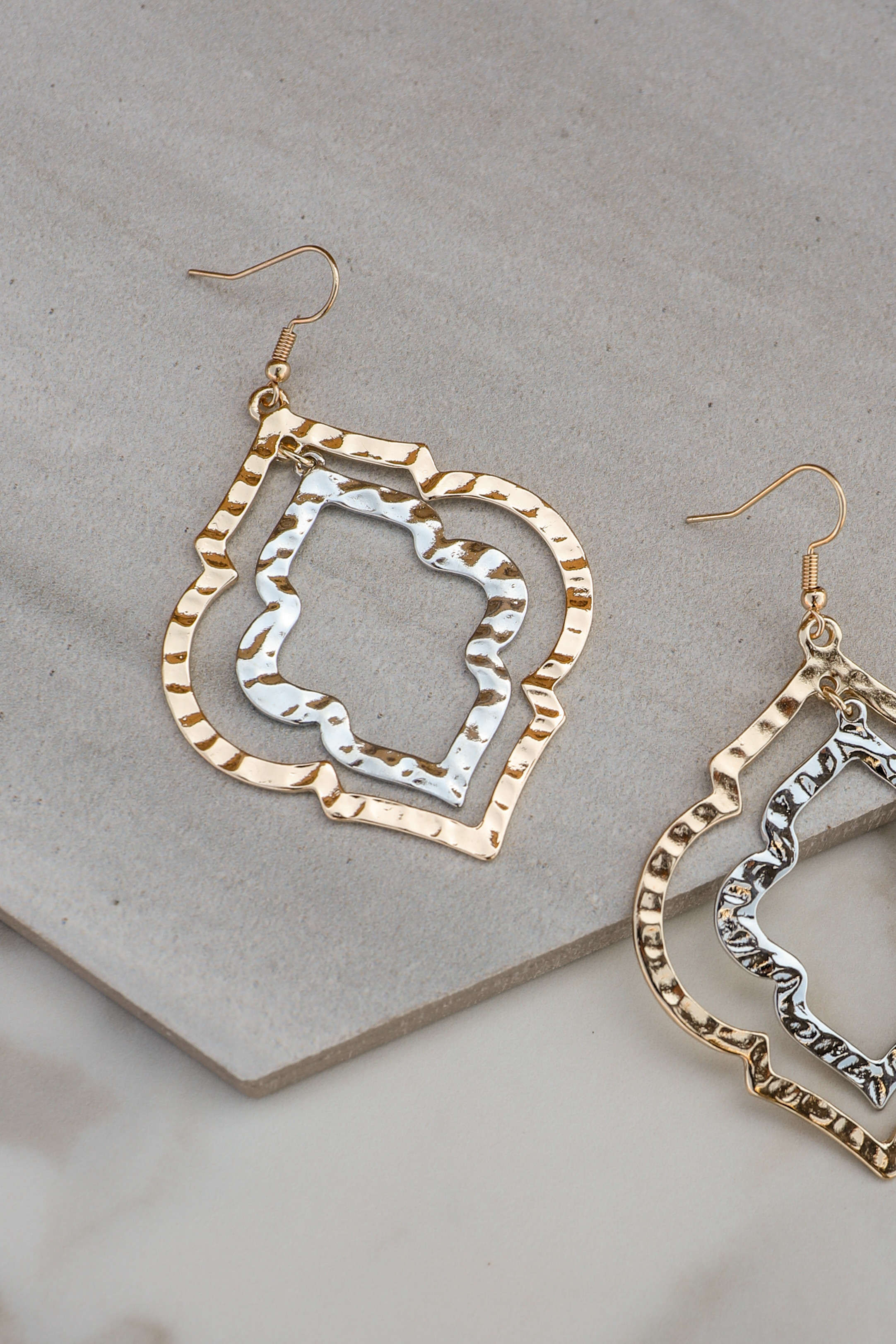 Gold and Silver Moroccan Style Layered Hoop Earrings