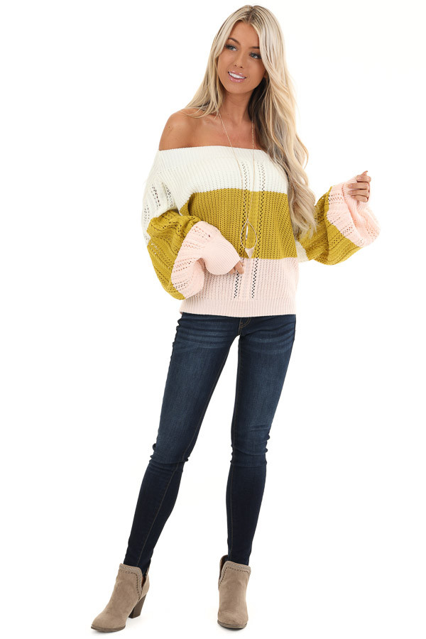 Ivory and Blush Color Block Off Shoulder Puff Sleeve Sweater front full body