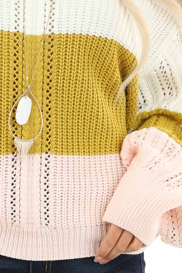 Ivory and Blush Color Block Off Shoulder Puff Sleeve Sweater detail