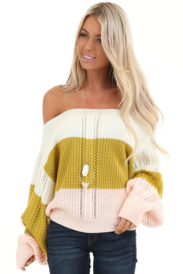 Ivory and Blush Color Block Off Shoulder Puff Sleeve Sweater front close up