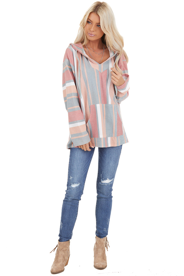 Sage Multicolor Pullover Hoodie with Drawstrings and Pocket front full body