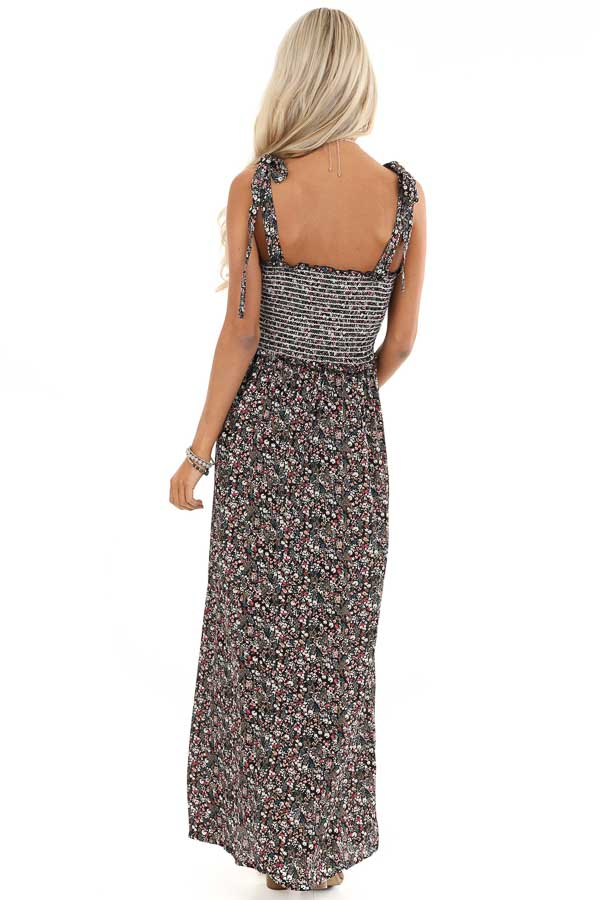 Black Floral Print Maxi Dress with Smocked Top and Self Tie back full body