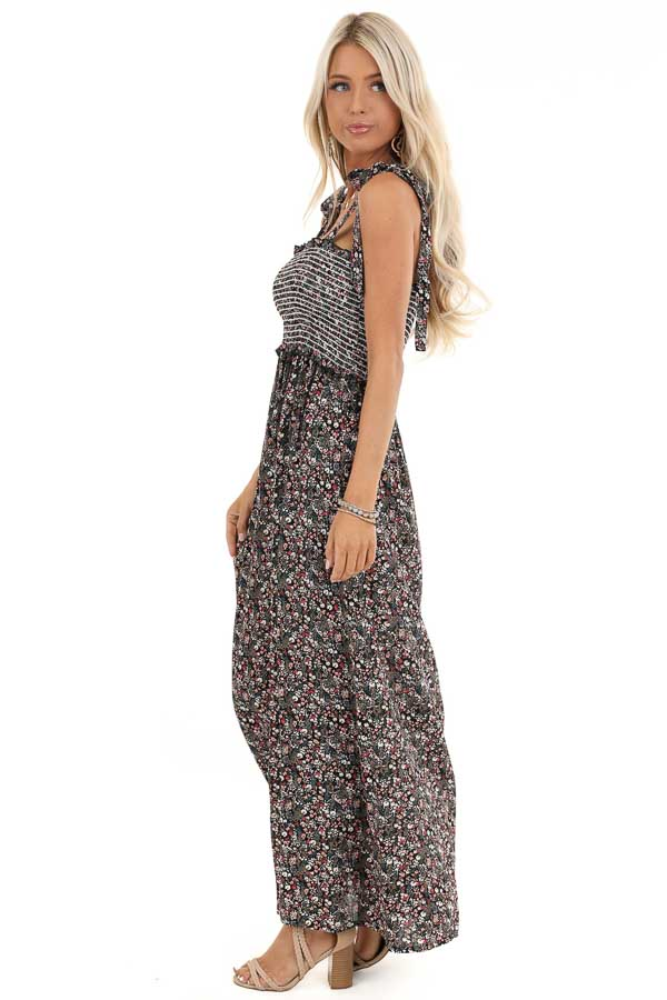 Black Floral Print Maxi Dress with Smocked Top and Self Tie side full body