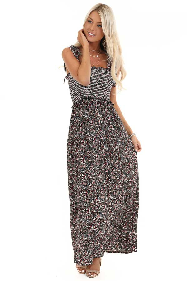 Black Floral Print Maxi Dress with Smocked Top and Self Tie front full body