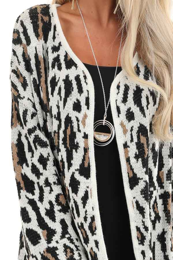 Cream Leopard Print Cardigan with Open Front and Pockets detail