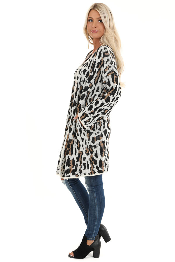 Cream Leopard Print Cardigan with Open Front and Pockets side full body