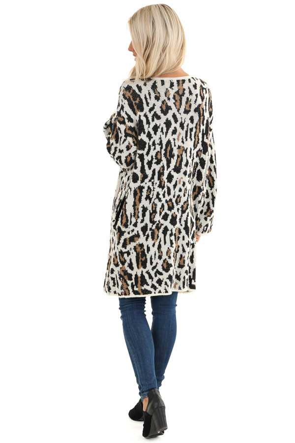 Cream Leopard Print Cardigan with Open Front and Pockets back full body