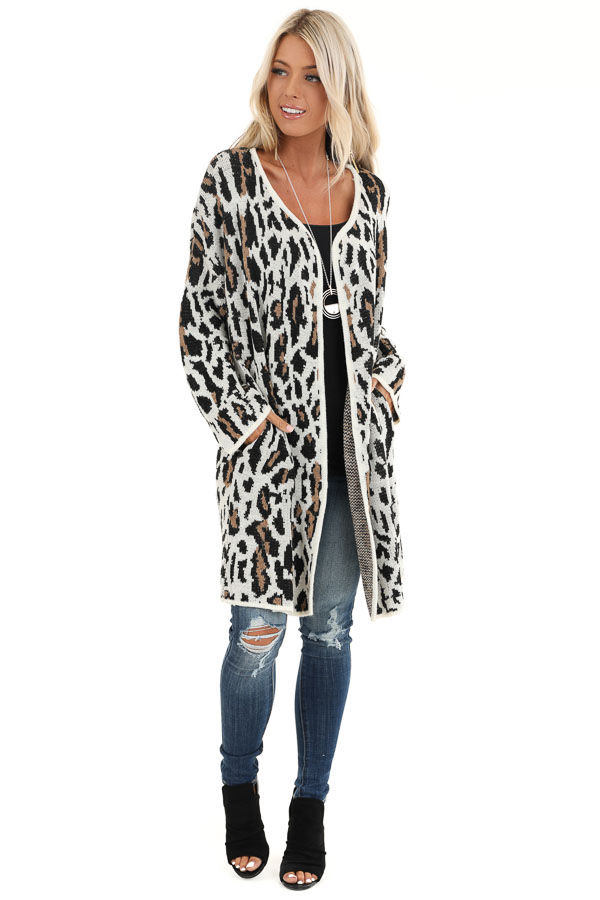 Cream Leopard Print Cardigan with Open Front and Pockets front full body