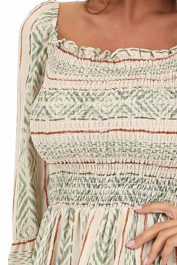Cream and Sage Multi Print with Smocked Details detail
