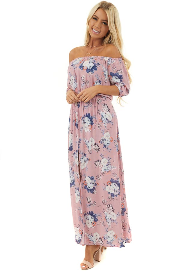 Lavender Floral Print Off Shoulder Romper with Maxi Overlay front full body