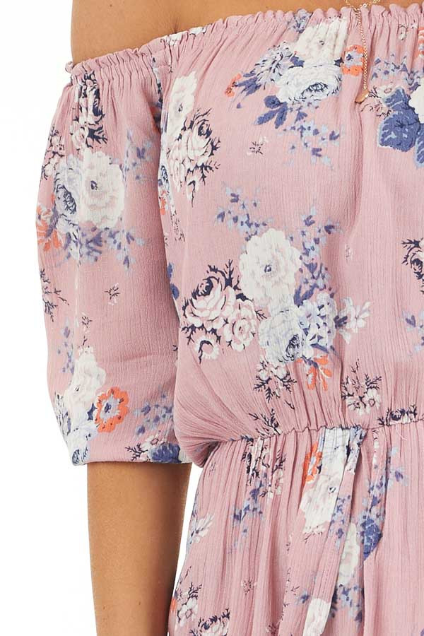 Lavender Floral Print Off Shoulder Romper with Maxi Overlay detail