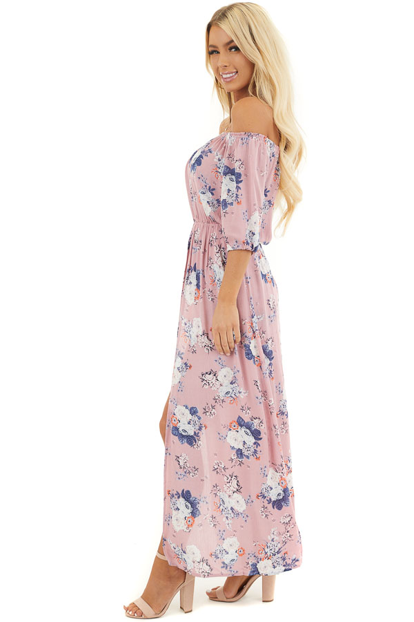 Lavender Floral Print Off Shoulder Romper with Maxi Overlay side full body