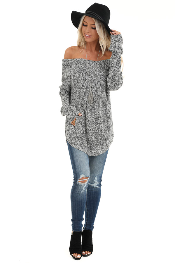 Black and Ivory Two Tone Off the Shoulder Sweater Top front full body