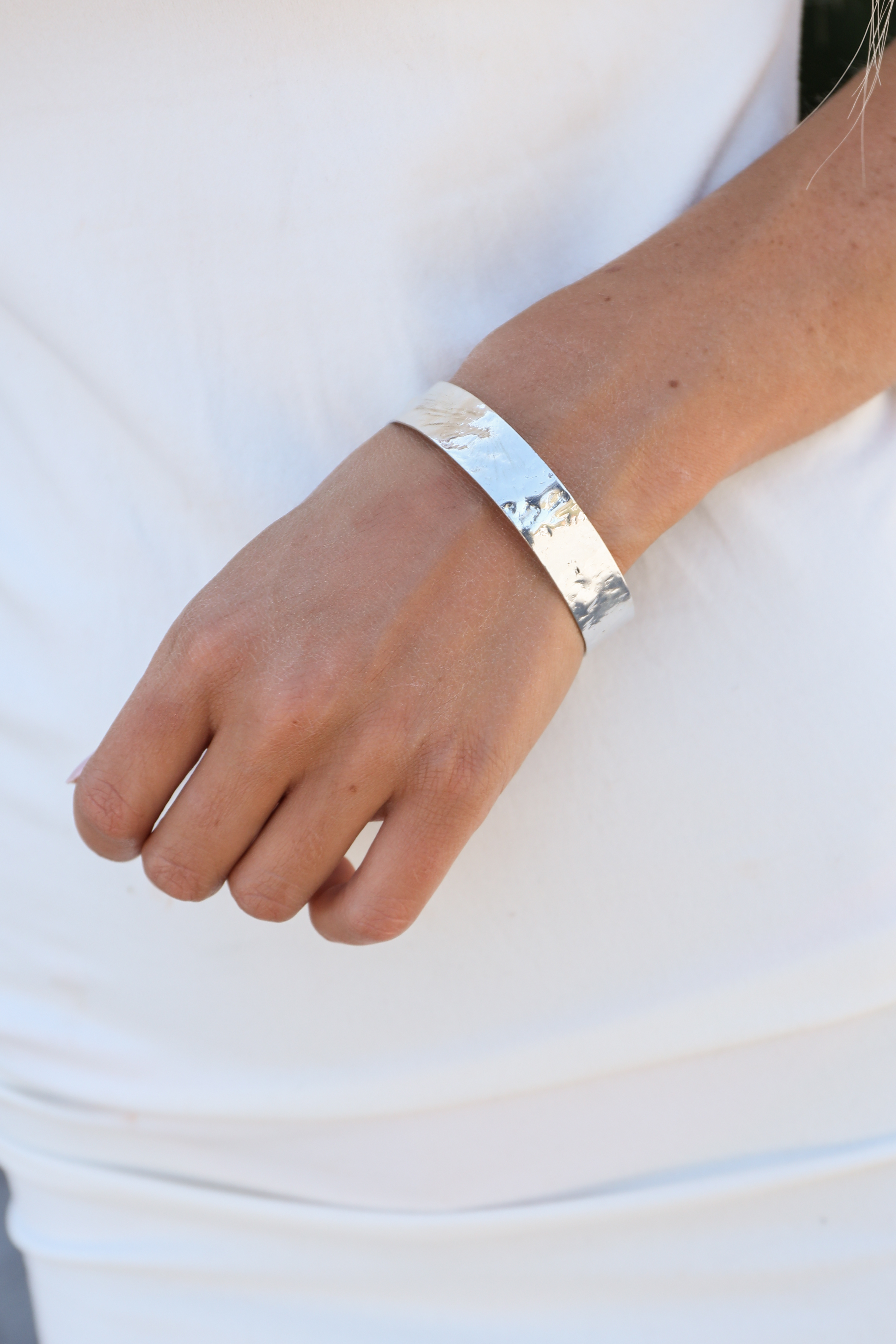Silver Textured Adjustable Cuff Bracelet